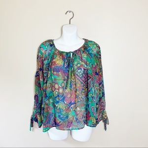 Umgee Printed Oversized Balloon Sleeve Top